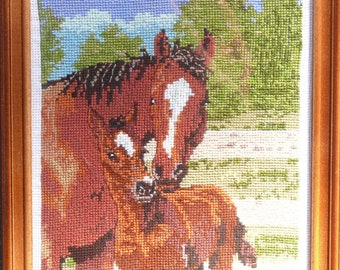 Horse with foal cross stitch embroidered framed picture painting