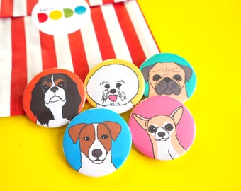 Dog Badges, dog buttons, Pug Badge, Chihuahua Badge, Jack Russell Terrier Badge, Bichon Frise Badge, King Charles Spaniel, Cute Puppy Pins