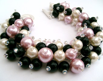 Pink and Black Pearl Bracelet, Wedding Party, Bridesmaid Jewelry, Cluster Bracelet, Bridesmaid Gift - Originals By Kim Smith