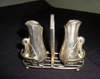 40313SP1 Vintage SALT & PEPPER Shakers SWANS Sterling Silver Over Metal .925 Swan Sterling Plate