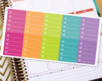 Full Box Planner Stickers Erin Condren Life Planner (ECLP) - 10 Full Box Checklist with Hearts Stickers (#4001)