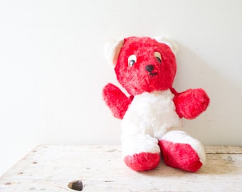 Vintage Plush Teddy Bear Dog Foarm Filled- Red  - Stuffed TeddyBear Cutesy Carnival Prize Plush Soft Toy 1950s
