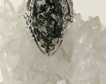 Moss Agate Ring, Size 9