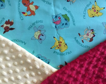 Personalized Pokemon Pikachu Charmander Bulbasaur Squirtle Minky Baby Blanket
