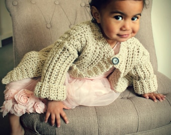 Download Now - CROCHET PATTERN Child's Play Cardigan - Sizes 0-3 Mos to 12 Years - Pattern PDF