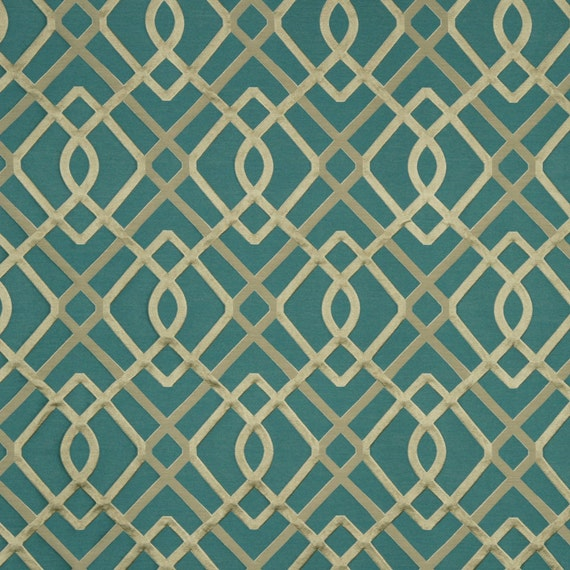 Modern teal geometric upholstery fabric textured teal ivory for Modern curtain fabric texture