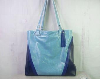 Blue leather Tote, Italian leather bag, Leather Blue carry all, strong leather bag, large blue bag, leather shopper, designer tote