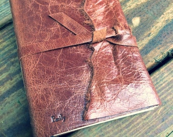 REAL LEATHER JOURNAL Brown Winged Hand Torn Personalized Rustic Leather Journal Sketchbook Notebook Travel Gift Journal in Bronzed Bourbon
