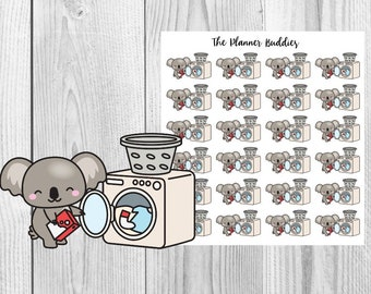 Kip the Koala, Laundry, Cleaning, Chores, Planner Stickers, Functional Stickers