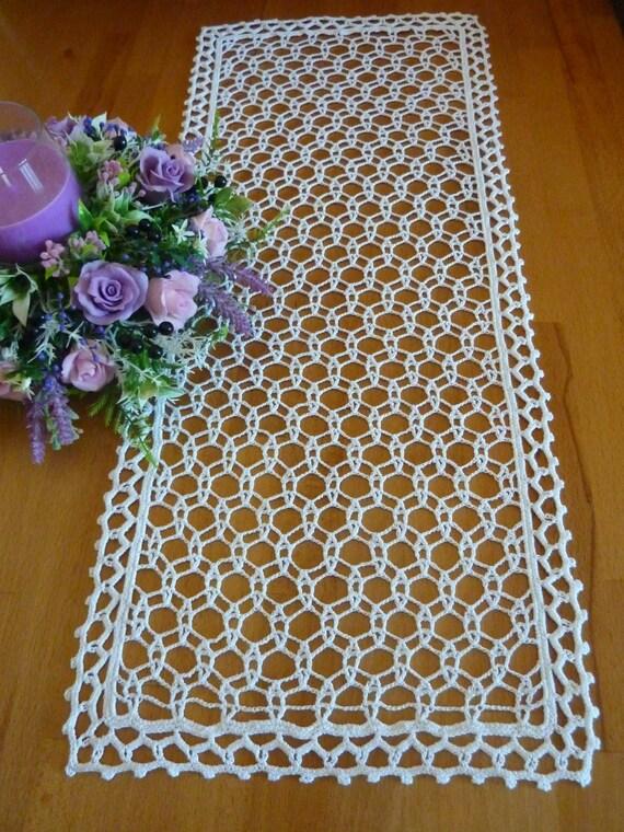 Crochet doilycrochet doilieslace table clothwhite - Napperon crochet chemin de table ...