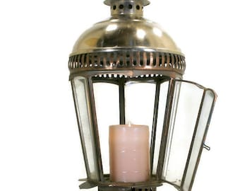 Candle Lantern, Outdoor Candle Globe, Architectural Salvage Steel and Copper Beveled Glass Hanging Candle Light