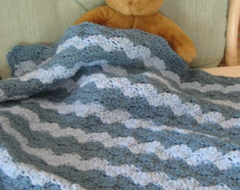 Crochet Baby Boy Blanket, Baby Shower Gift, Stroller Blanket, Travel Blanket,  Country Blue & Light Blue Baby Blanket