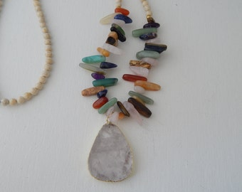 Long white quartz pendant necklace with stone spikes and jasper, beach chic, resort wear jewelry, bohemian style, beach boho, multicolored