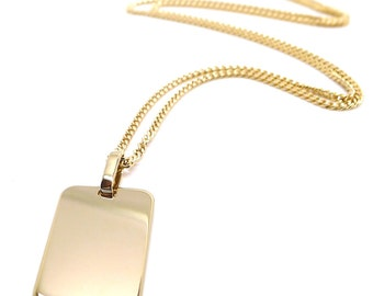 Gold plated necklace with plate