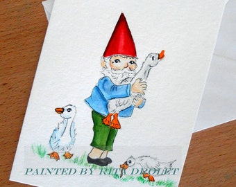 Gnome with his Geese Friends, original small 5x7inch watercolor painting, whimsical Nursery Art