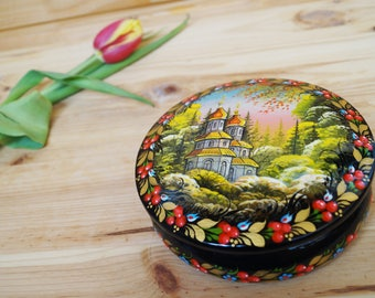 Easter gift, Ukraine box, Hand painted casket, Vintage jewelry box, Ukrainian folk gift for women Keepsake casket Flowers painting Christian