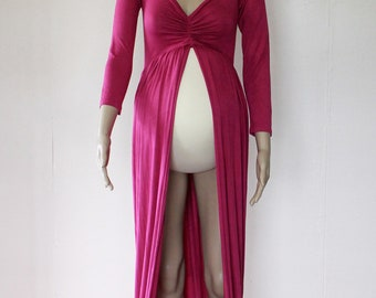Long Sleeve Off Shoulder Jersey Maternity Gown - Fuchsia