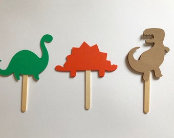 Dinosaur Cupcake Toppers | Dinosaur Party | Double Sided | Set of 24 | 3""