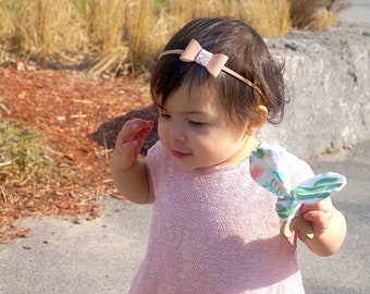 Chunky mini bows / patent leather / headbands / clips / pigtail set