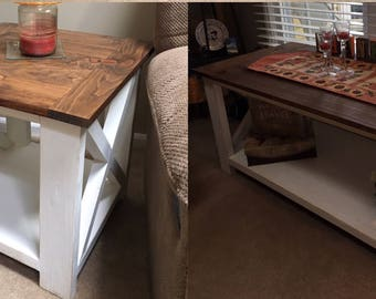 Rustic Farmhouse Coffee Table/End Table Set