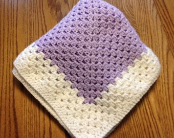 Hand crocheted baby blanket (lavender and white)