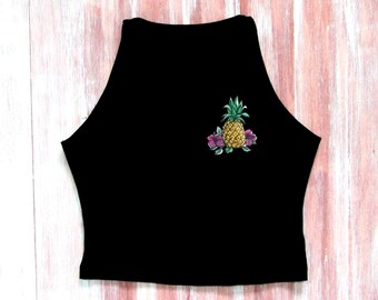 Pineapple Crop Top-Boho Crop Top-Festival Crop Top-Tropical Crop Top