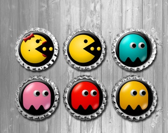 Pac Man Bottle Cap Magnets - Set of 6