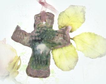 Cross,  Wall Cross,  Home Decor Cross,  Ceramic Cross ,,pottery cross  # 122
