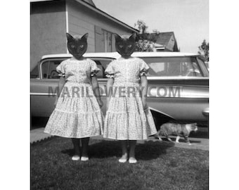 Cat Art Print Twin Sisters Cats in Clothes Collage Black and White 8.5 x 11 inch Animal Wall Decor, Halloween Decor