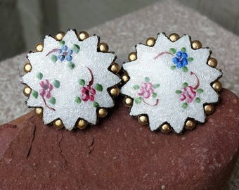 Vintage Guilloche Floral Enamel Clip On Screw Back Earrings Pink Blue White Romantic Handpainted Round Disk Button French Jewelry Jewellery