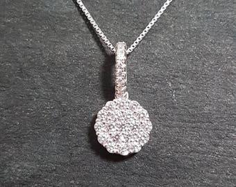 New 14k White Gold On 925 Ripple Circle Pendant Charm