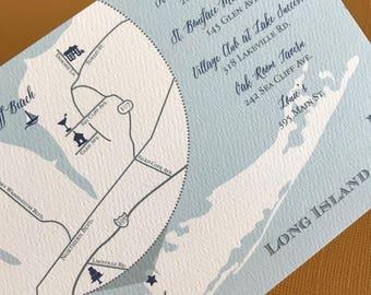Long Island custom wedding map, digital file, destination wedding, wedding invitation set, island, hand drawn, illustrated
