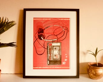 "Retro Wall Art ""Should I Stay"" Classic Walkman, 80's Art, Risograph Print, A3 Limited Edition"