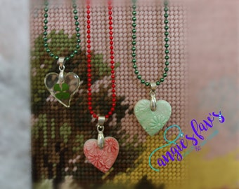 Ball Chain Necklaces, Heart, Shamrock