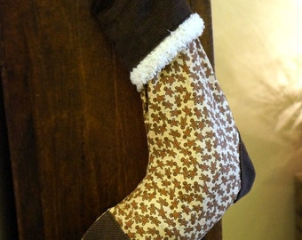 CLEARANCE Gingerbread & Corduroy Christmas Stocking - Child's Stocking