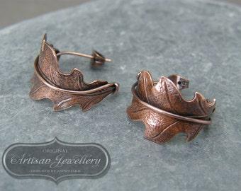 Leaf earrings ~ Unique copper hoops ~ Hoop earrings ~ Oak leaves ~ Gift for nature lover ~ Botanical jewellery ~ Nature jewellery ~ Oak leaf