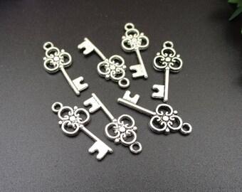 20Pcs 25x10mm Silver Key Charms 2 Sided-p1666