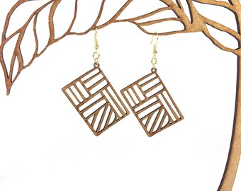 Woodcut Rectangle earrings