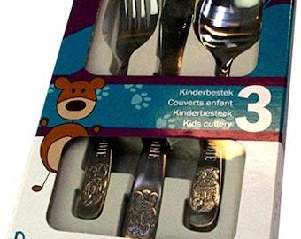 Personalised 3pce Cutlery Set - Bear Design