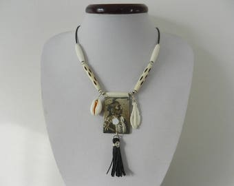 Native American - Native American style, leather images reversible copper enameled bone necklace
