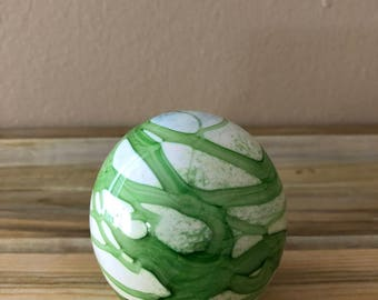 Green and White Swirled Glass Paperweight Made in England