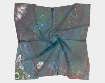 Reef Nebula Square Scarf, Abstract Painting Print Scarf, Psychedelic Print, Galaxy Print Abstract Art, Multiple Sizes, Made to Order
