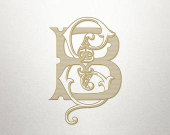 Custom Vintage Initials - BE EB- Vintage Initials - Digital