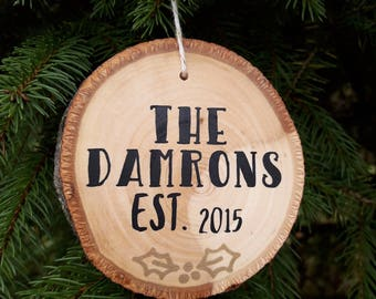 Personalized Wood Slice Ornament | Wood Slice Ornament | Custom Wood Ornament | Last Name Established Ornament | Christmas Ornament