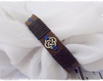 Leather Anniversary Bracelet, Celtic Knot Bracelet, Celtic Wedding Bracelet, Men's Leather Bracelet, Nordic Leather Bracelet, Love Knot Cuff