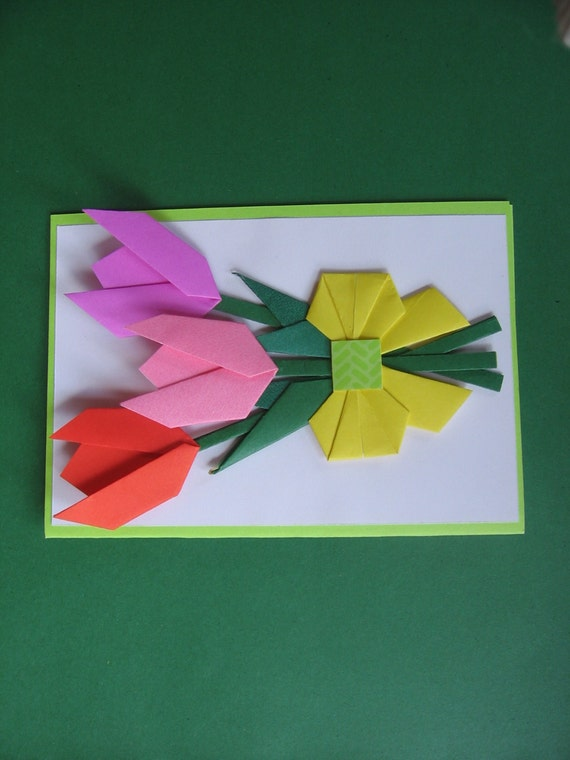 Handmade origami flower card mothers day tulip blank like this item mightylinksfo