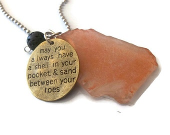Seaglass Diffuser Necklace | Essential Oil Necklace | Beach Quote Oil Necklace | Lava Rock Necklace | Aromatherapy Necklace | Beach Glass