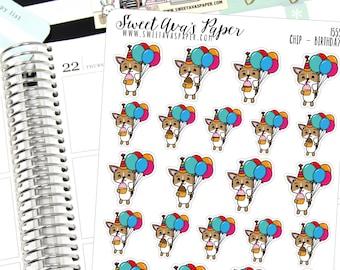 Birthday Planner Stickers - Balloon Planner Stickers - Birthday Party Stickers - Mom Stickers - Dog Stickers - Event Planner Stickers - 1555