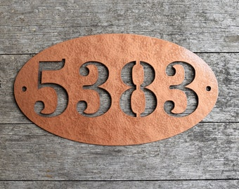 Metal Oval Horizontal Home Address Sign  Personalized House Number Plaque   Address Plaque   Outdoor Sign  Mailbox Numbers   House Numbers