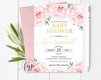 Couples Shower Invitation   Coed Baby Shower Invitation   Couples Baby  Shower Invite   Shabby Chic